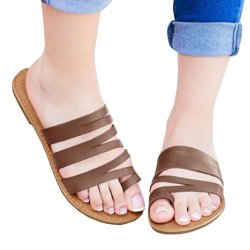 Kuselle Womens Flat Slides Strappy Sandals