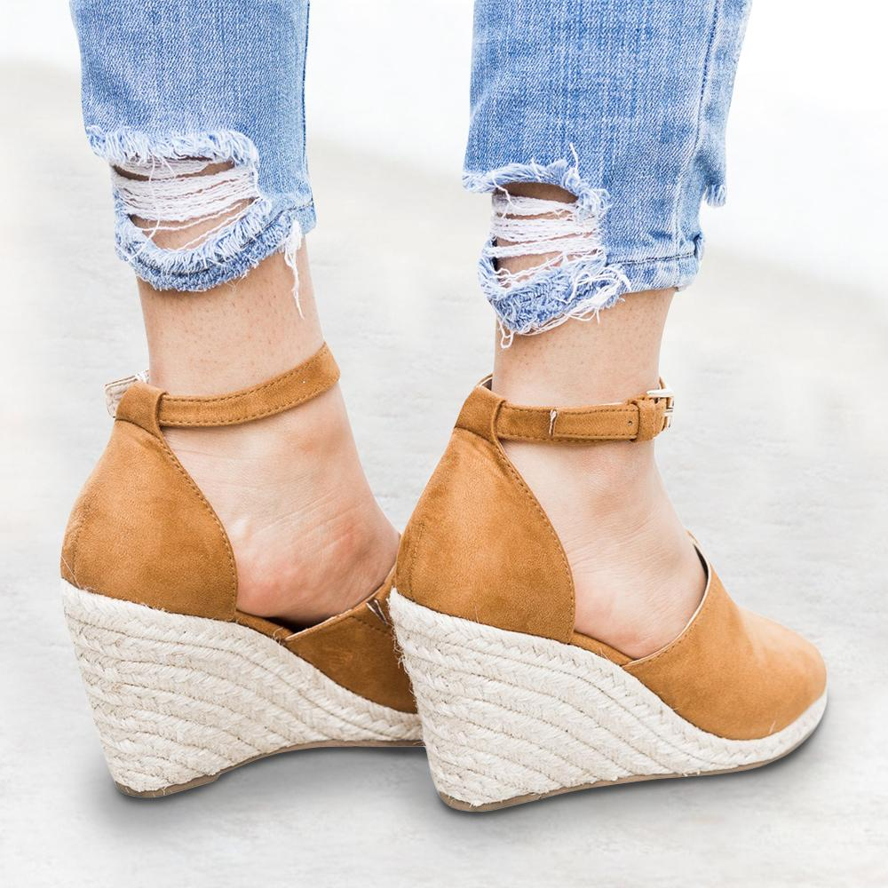Kuselle Leopard Espadrille Wedges Open Toe Sandals