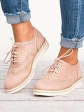 Kuselle Retro Lace Up Perforated Oxfords Flat Shoes