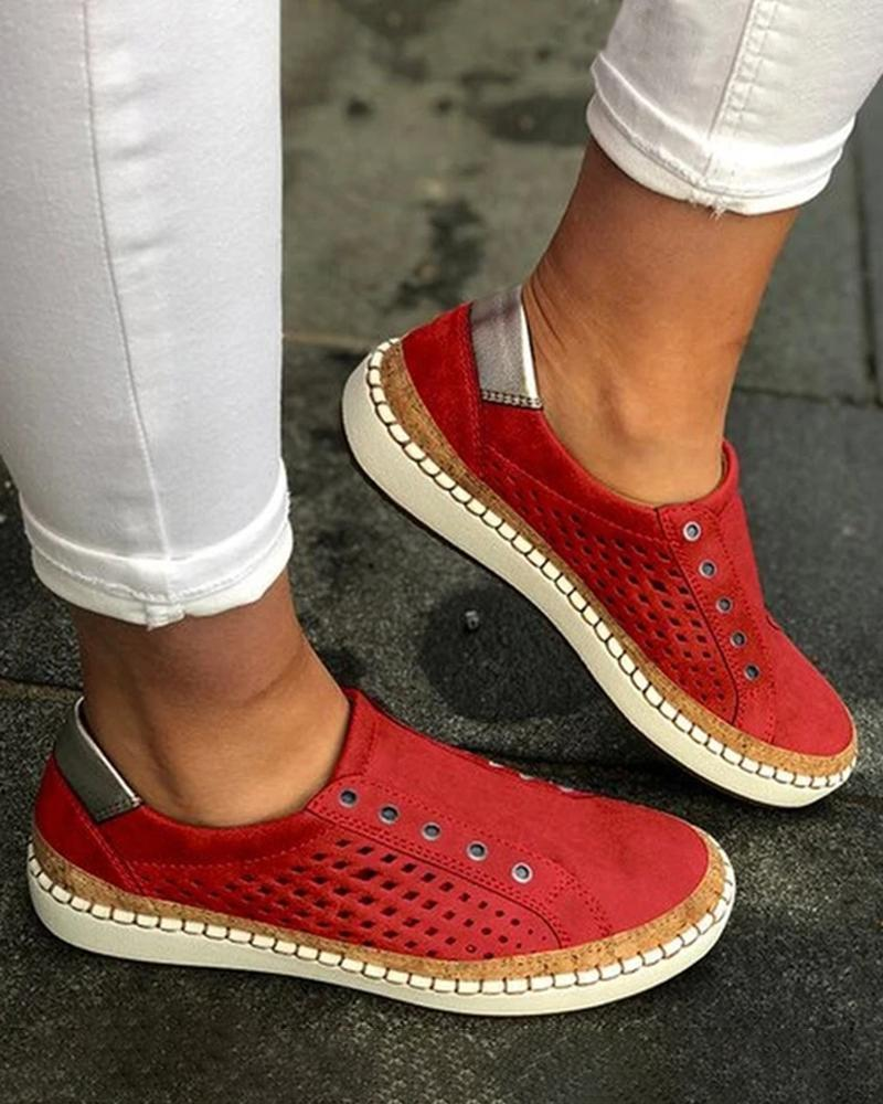 Kuselle Perforated Slip On Flats Casual Walking Sneakers