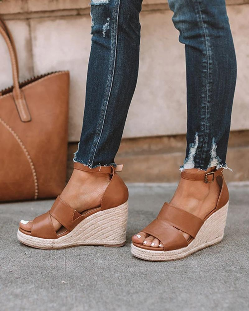 Kuselle Espadrille Wedges Two-Strap Closed Heel Buckled Ankle Strap