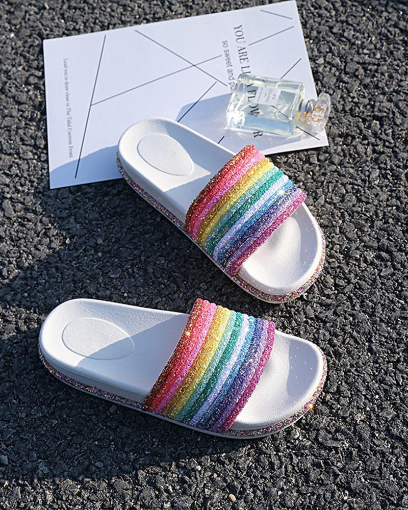 Kuselle Rainbow Colorful Sequin  Shinny Beach Slides