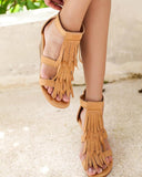 Kuselle Tassel Decoration Ankle Strap Wedge Sandals