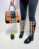 Kuselle Plaid Flat Boots Side Zipper Round Toe Checked Boots
