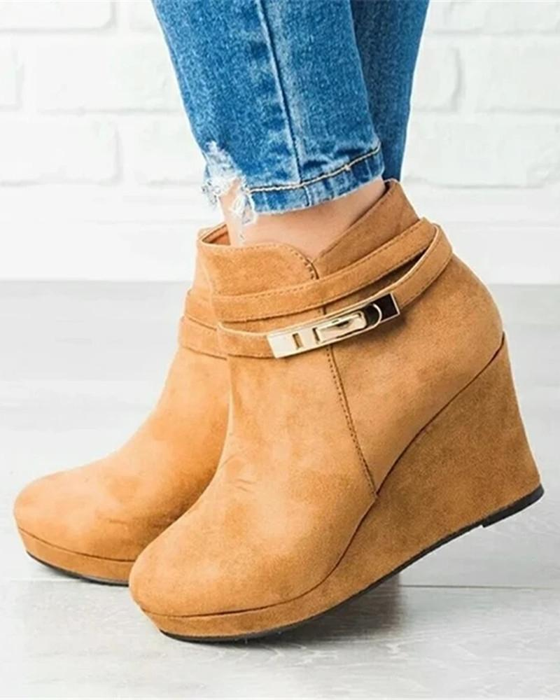 Kuselle Solid Color Wedges Buckle Ankle Strap High Heeled Booties