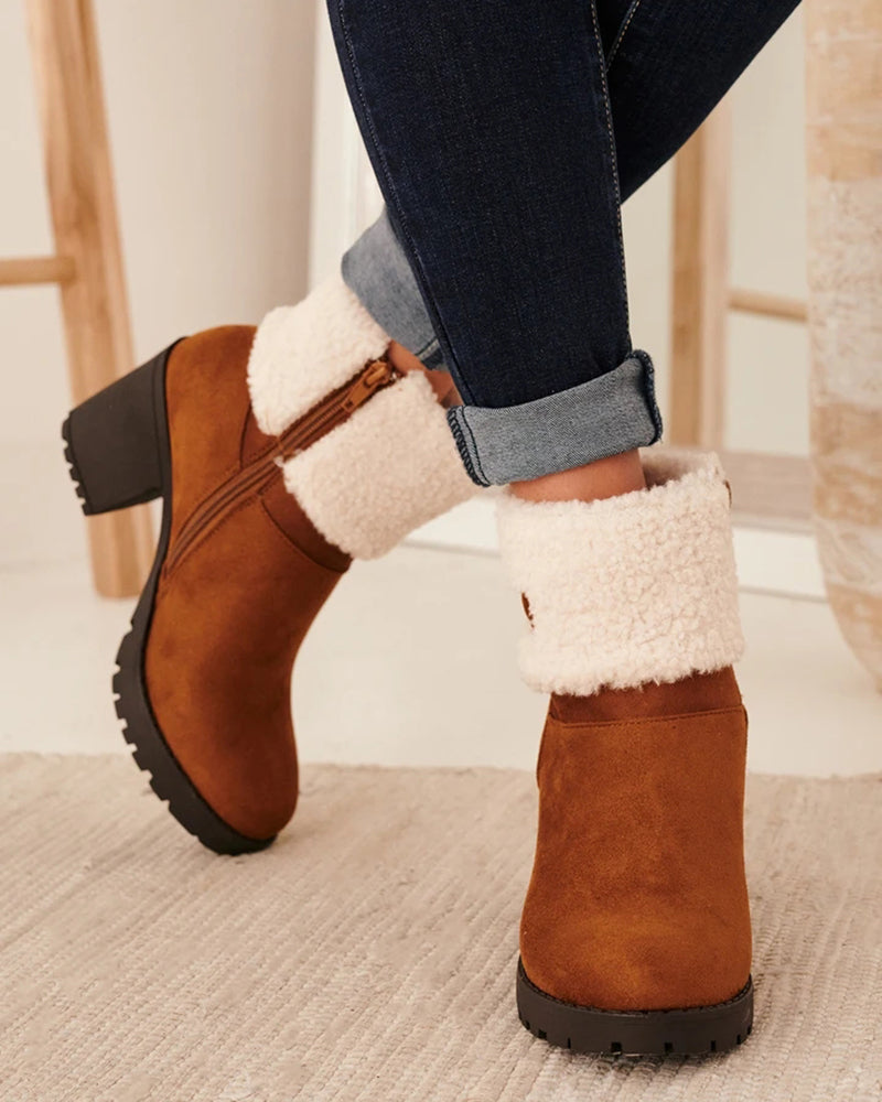 Kuselle Pointed Toe Chunky Heels Short Snow Boots