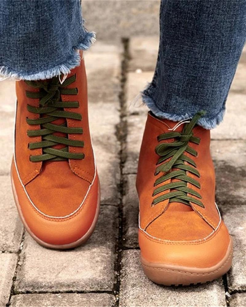 Kuselle Lace-up Solid Color High Top Sneakers