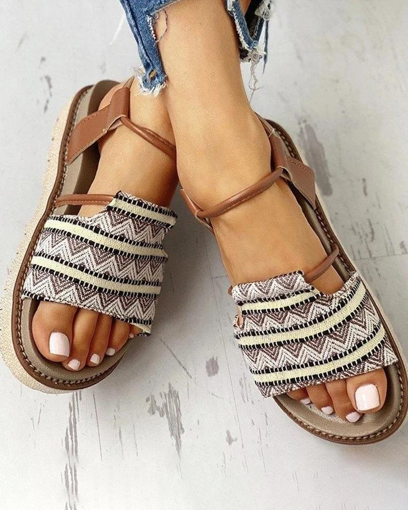 Kuselle Strip Pattern Buckled Ankle Strap Open Toe Flat Sandals