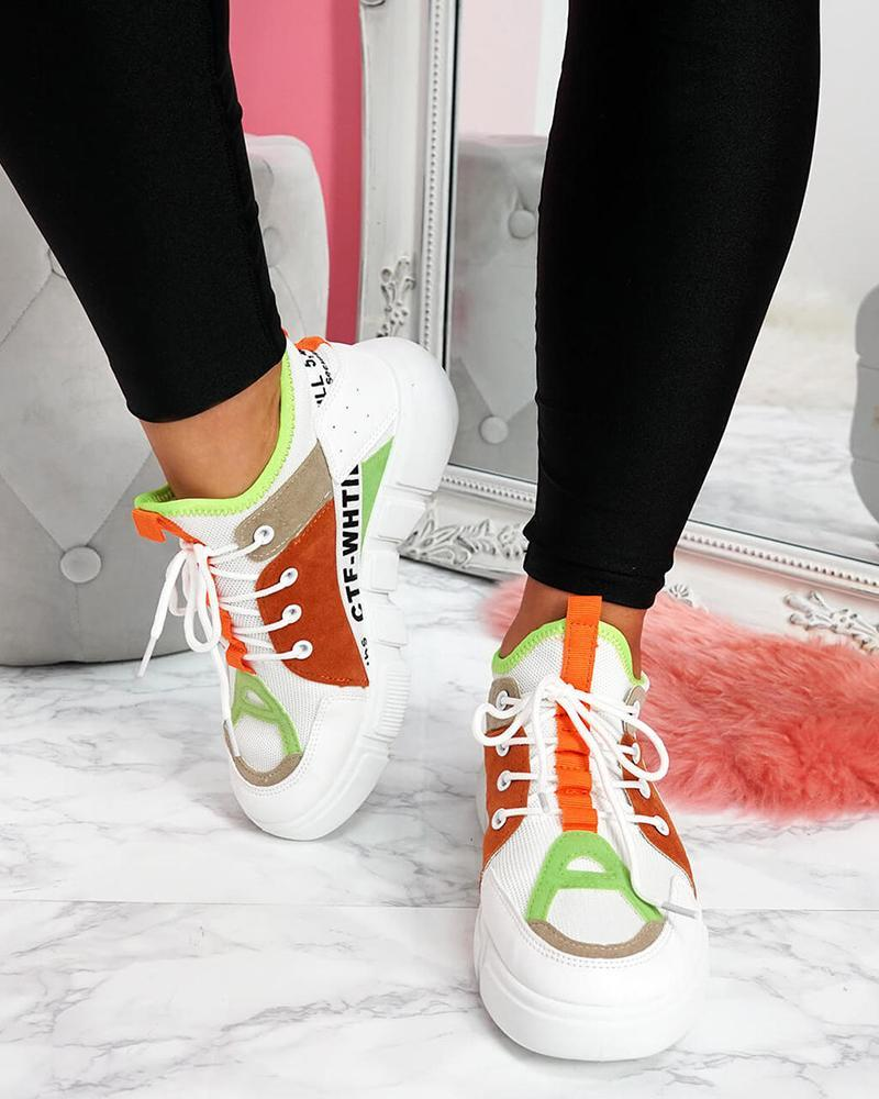 Kuselle Lace-up Sneakers Breathable Mesh Colorblock High-top Walking Shoes