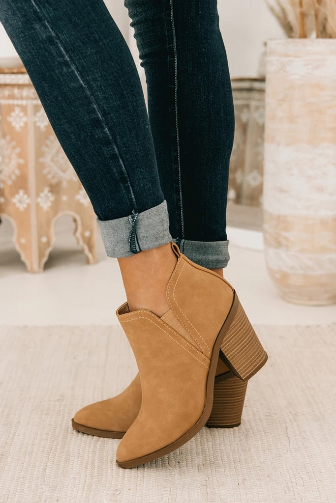 Kuselle Fall Cutout Ankle Boots Block Chunky Stacked Heel Booties
