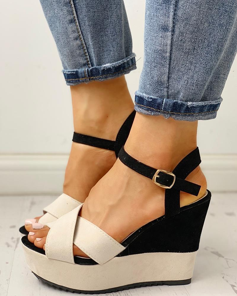 Kuselle Colorblock Open Toe Criss-cross Strap Wedges Buckled Strap Slingback Platform Sandals