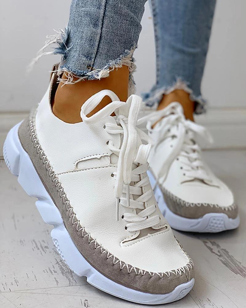 Kuselle Lace Up Stitching Color Comfortable Sneakers