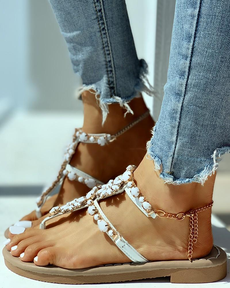 Kuselle Flower Emblished T-strap Toe Post Chain Strap Sandals