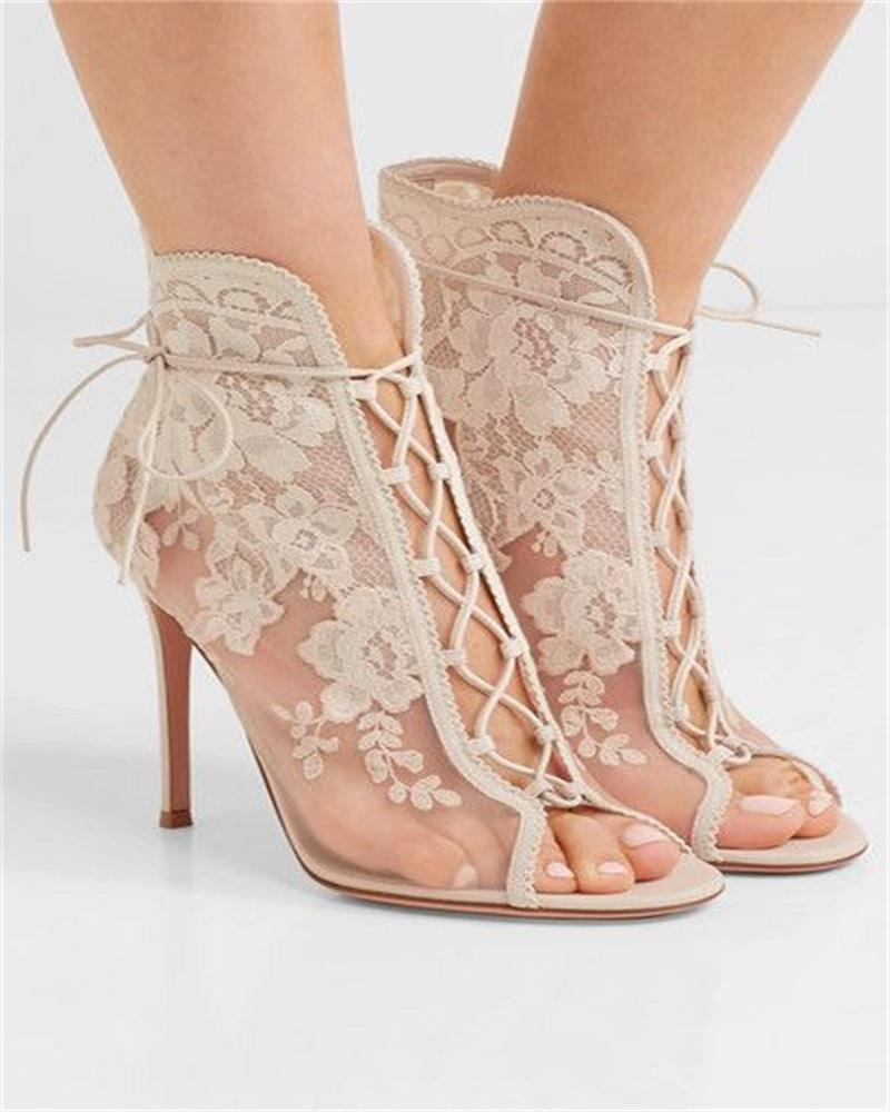 Kuselle Lace-up Floral Pattern Open Toe Stiletto Lace Sandals