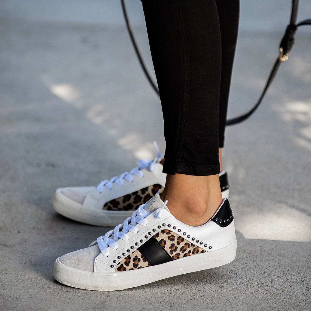 Kuselle Leopard Sneakers Lace Up Flat Walking Shoes