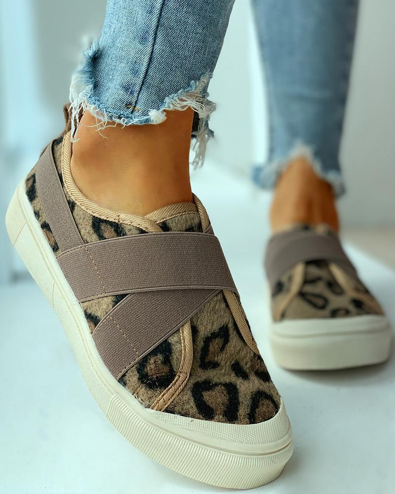 Kuselle Elastic Cross Strap No Lace Printed Slip-on Sneakers