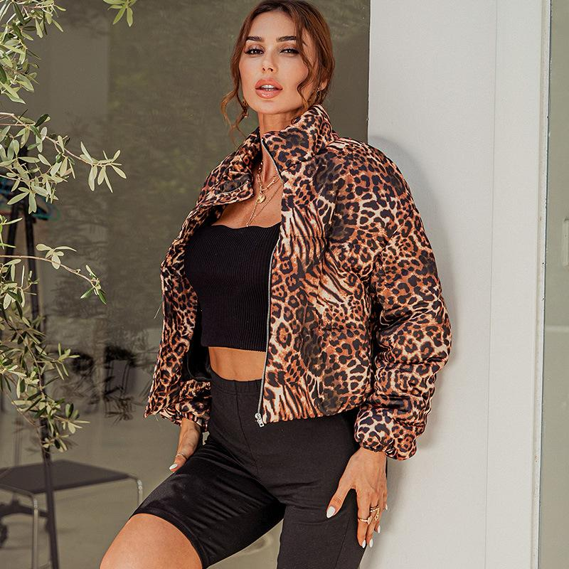 Kuselle Womens Coat Leopard Zipper Closure Stand Collar Jacket