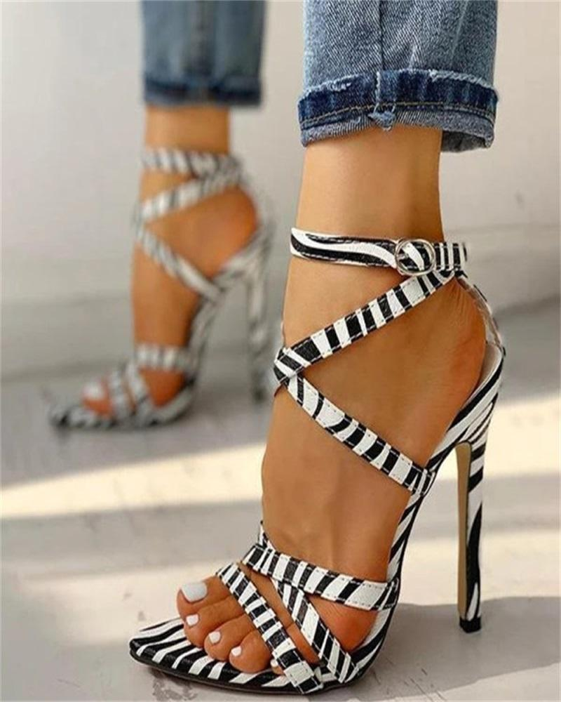 Kuselle Pointed Toe Buckled Ankle Strap Heels Criss-cross Band Sandals