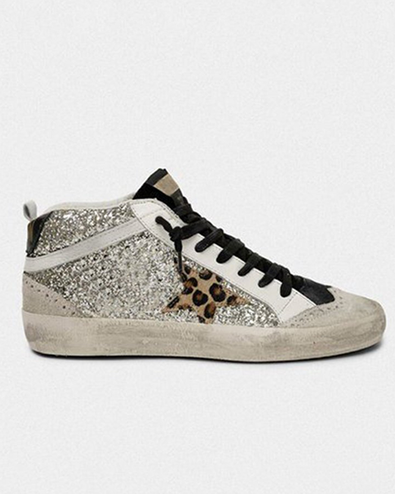 Kuselle Sequin Emblished Leopard Printed Star Stitching Color Shinny Sneakers