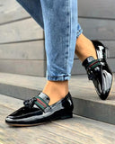 Kuselle Point Toe Slip-on Classic Single Strap Tassel Loafers