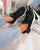 Kuselle Breathable Stitching Color Lightweight Lace-up Sneakers