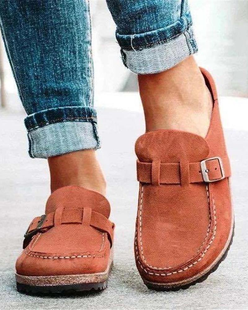 Kuselle Slip on Round Toe Suede Comfy Flat Mules