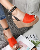 Kuselle Studded Peep Open Toe Buckled Ankle Strap Wedges Slingback Sandals