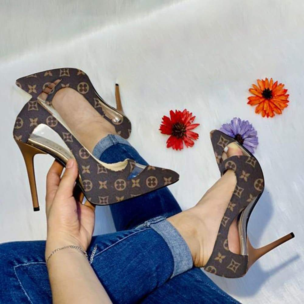 Kuselle Point Toe Stilettos Cut-out Printed Heels