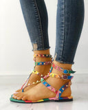 Kuselle Colorful Ankle Buckle Thong Rivet Gladiator Sandals