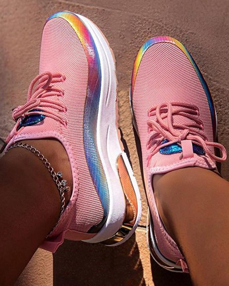 Kuselle Colorblock Wedges Breathable Colorful Sneakers