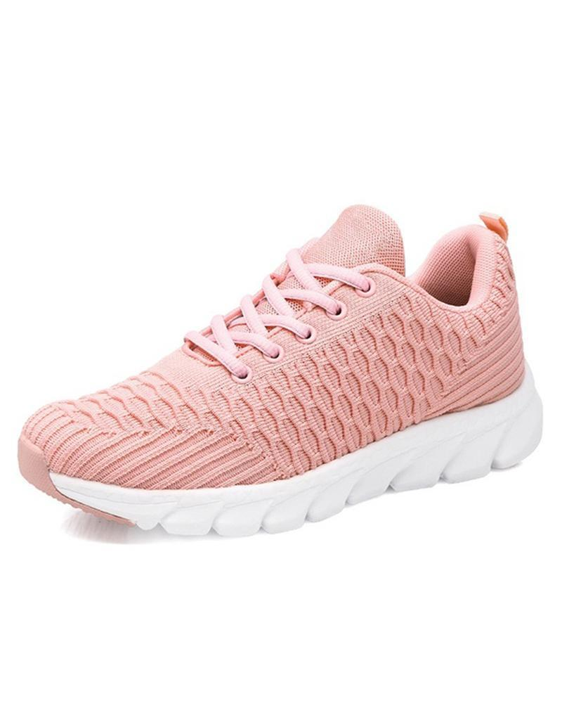 Kuselle Breathable Mesh Solid Color Comfortable Lace-up Sneakers
