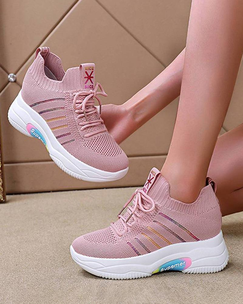 Kuselle Elastic Sneakers Lace-up Breathable Comfy Walking Shoes