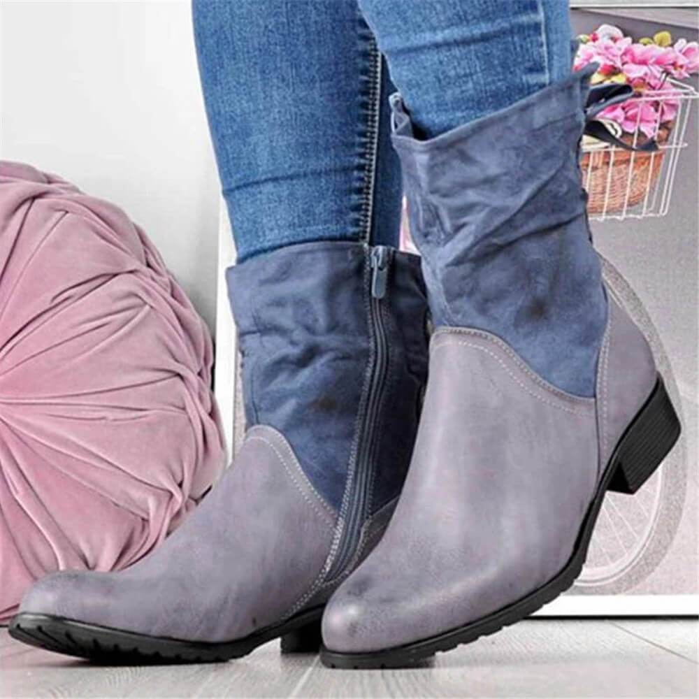 Kuselle Bowknot Stitching Side Zipper Lace-up Mid-calf Boots
