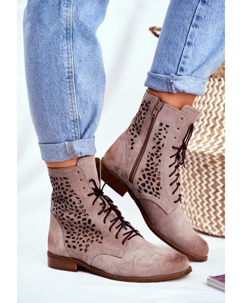 Kuselle Lace-up Side Zipper Short Boots Rhinestone Embellished Flat Ankle Booties