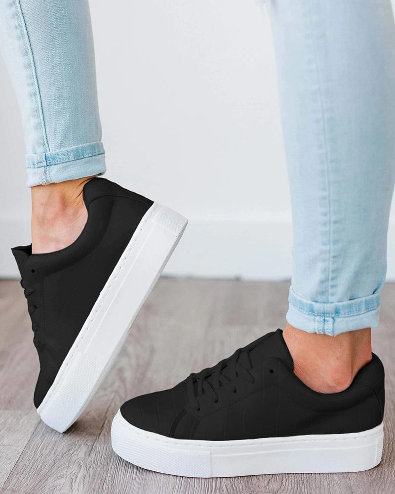 Kuselle Platform Classic Round Toe Sneakers