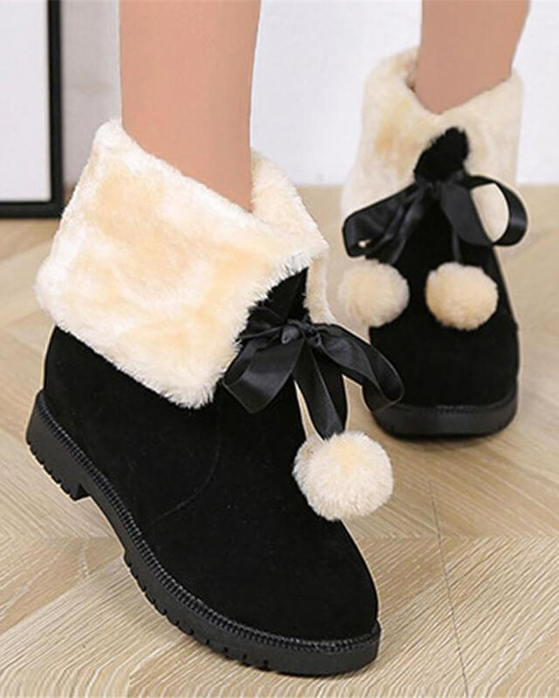 Kuselle Fluffy Lace-up Flat Comfy Warm Snow Boots