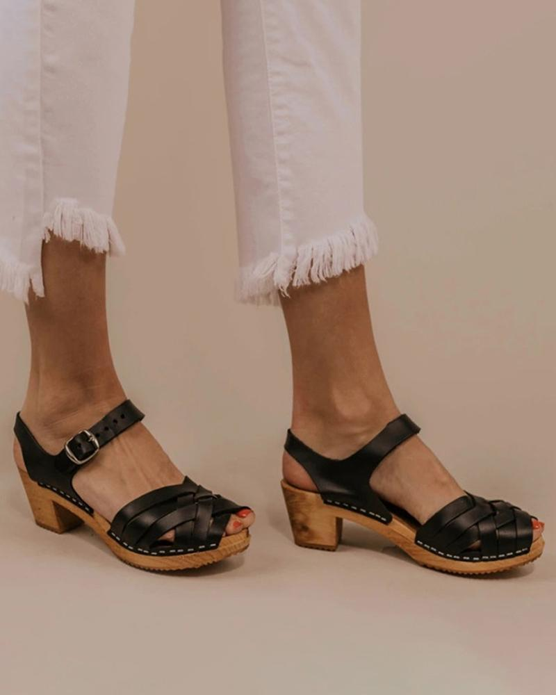 Kuselle Slingback Clogs Peep Open Toe Criss-cross Buckled Strap Solid Color Sandals