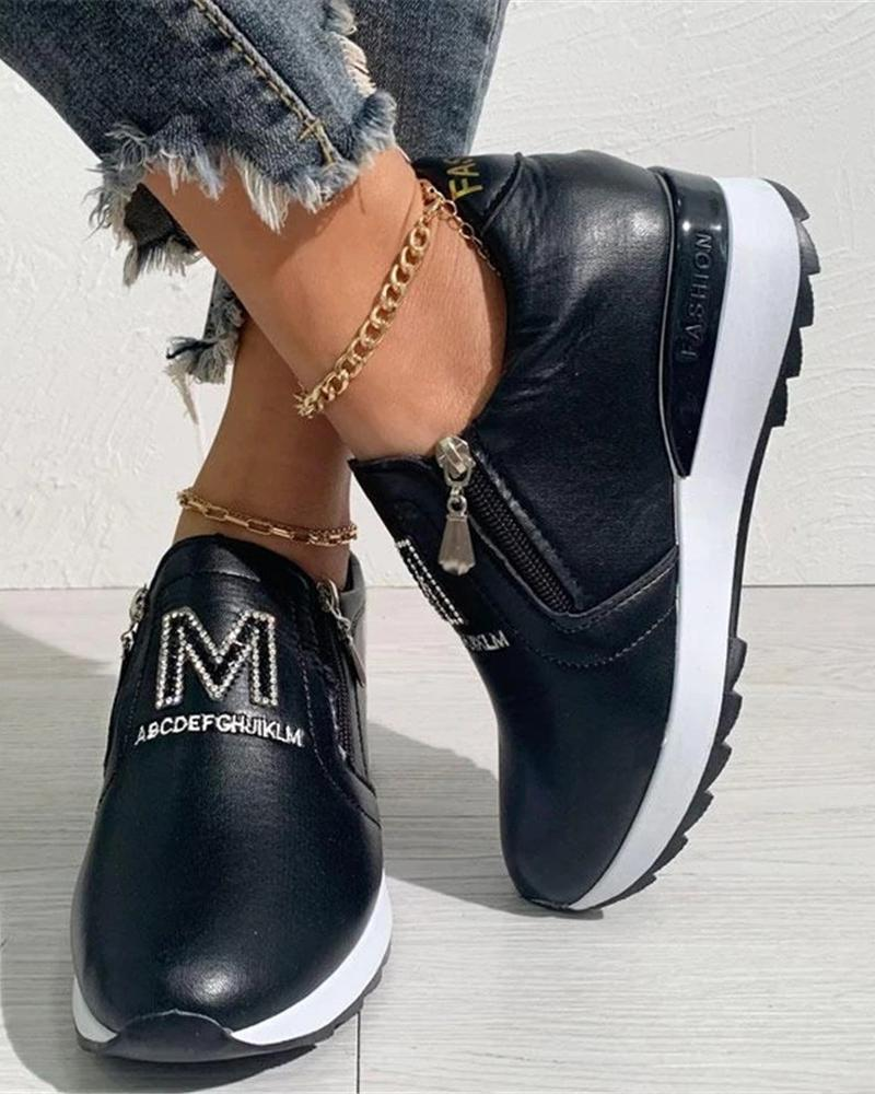 Kuselle Side Zipper Letter Embellished Platform Sneakers