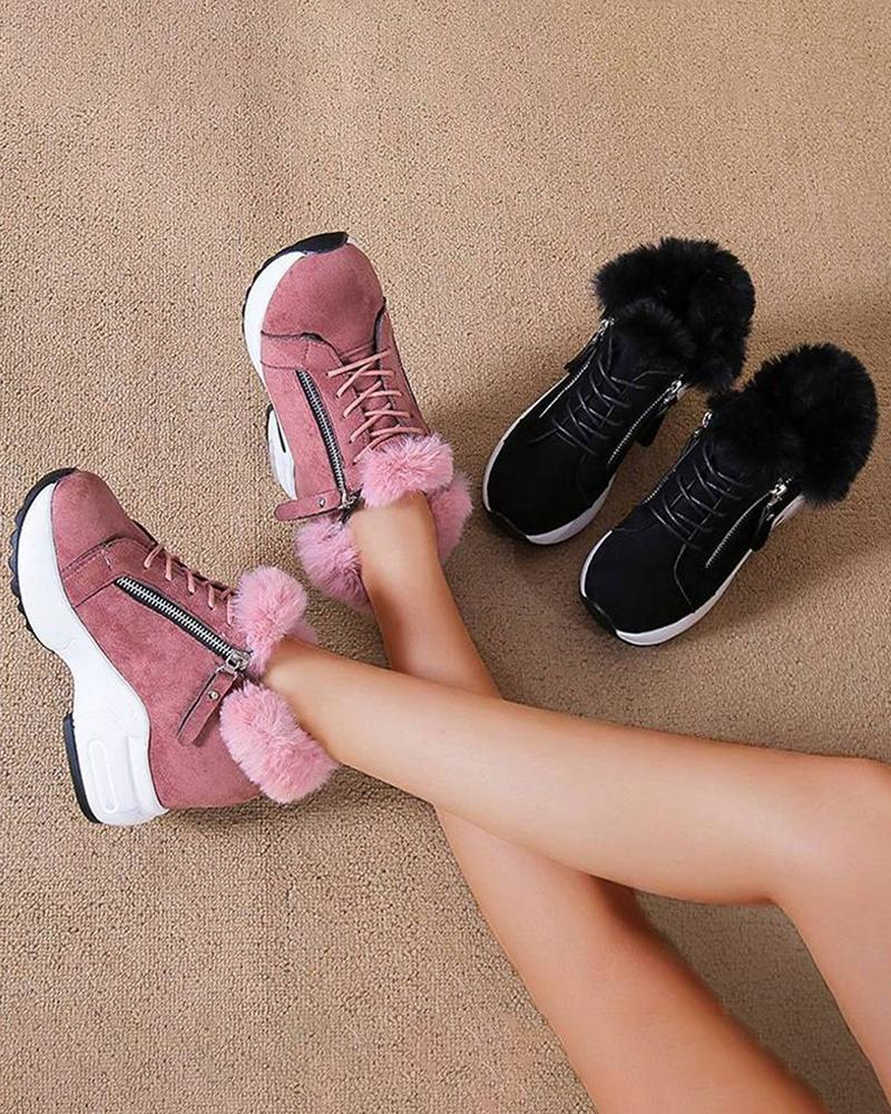 Kuselle Warm Sneakers Side Zipper Lace-up Platform Fluffy Shoes