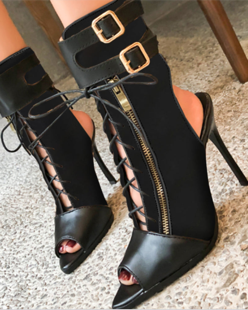 Kuselle Peep Open Toe Lace Up High Heel Ankle Boots