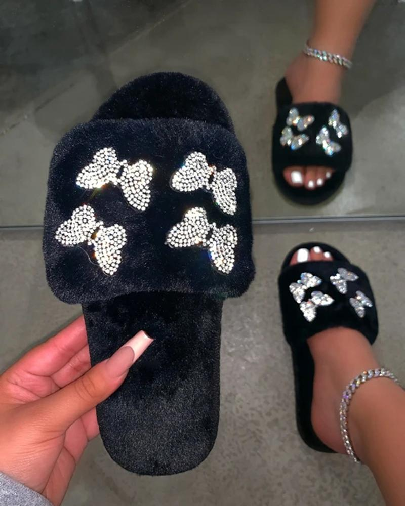 Kuselle Open Toe Fluffy Shiny Butterfly Embellished Flat Slippers