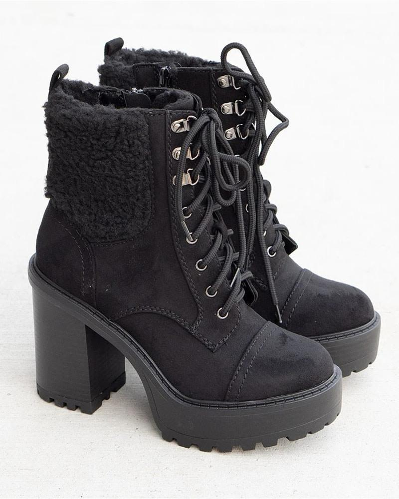 Kuselle Round Toe Platform Lace-up Side Zipper Boots