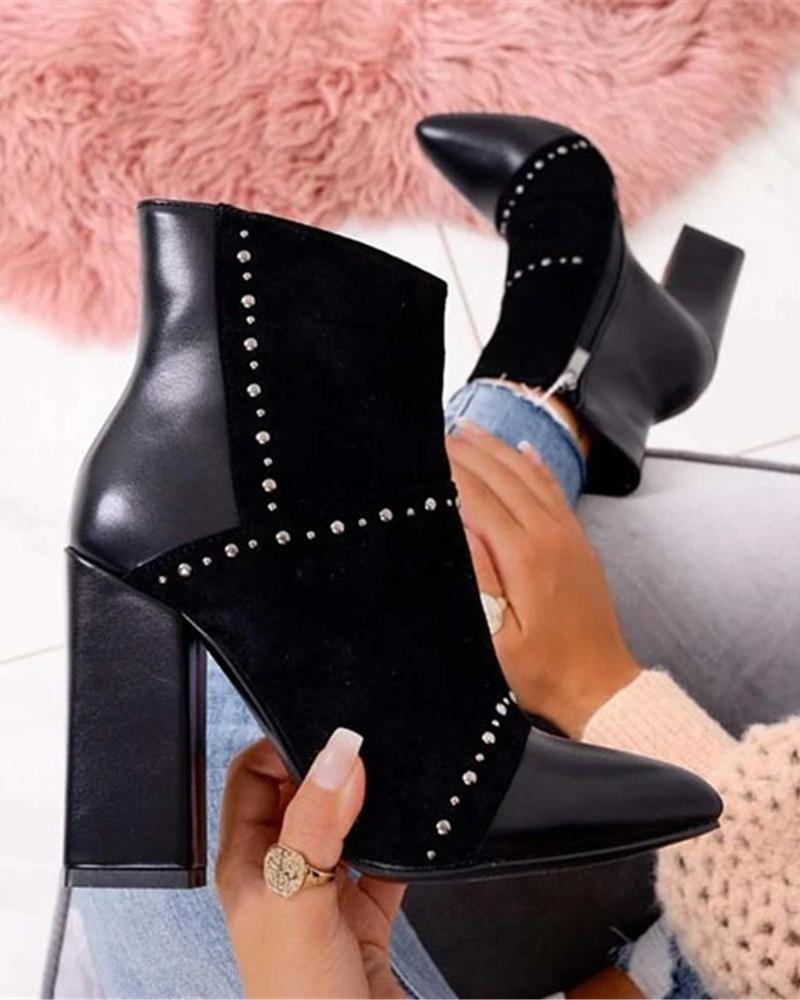 Kuselle Side Zipper Chunky Heel Pointed Toe Rivet Suede Boots