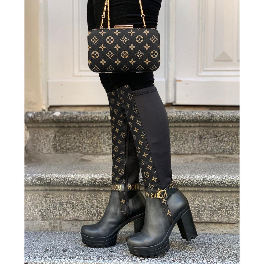 Kuselle Womens Fashion Chunky Heel Knee High Boots