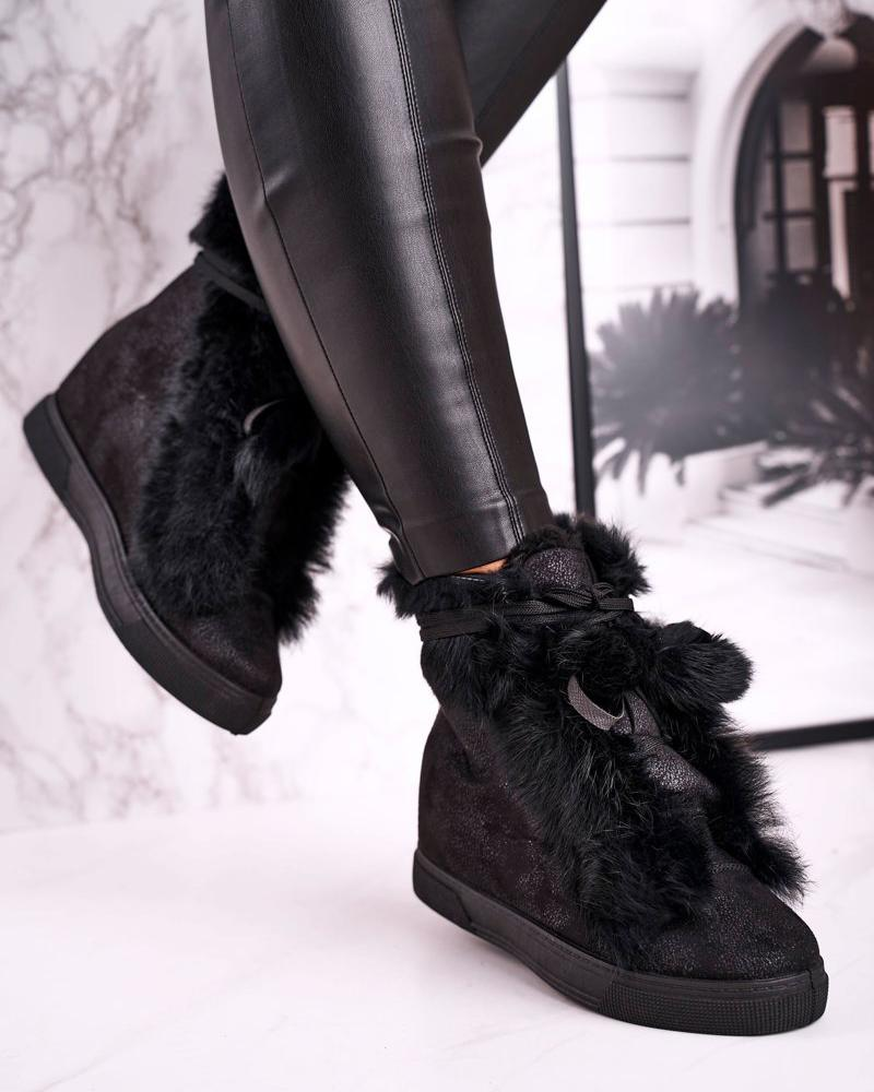 Kuselle Hidden Wedge Lace Up Fur Boots