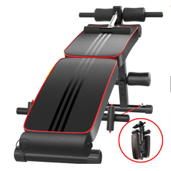Kuselle Adjustable Weight Bench Foldable Sit Up Bench Trainer Pulling Rope Spring Booster Double Fixed Widen Thickened PU Leather Panel Ab Bench