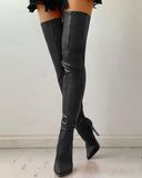 Kusele Pointed Toe Stilettos Leather Boot Zipper Thigh High Boots