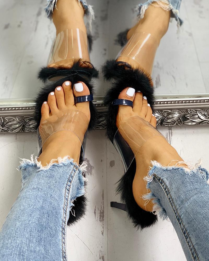 Kuselle Open Toe Slingback Stilettos Transparent Strap Toe Ring Fluffy Thin Heeled Sandals