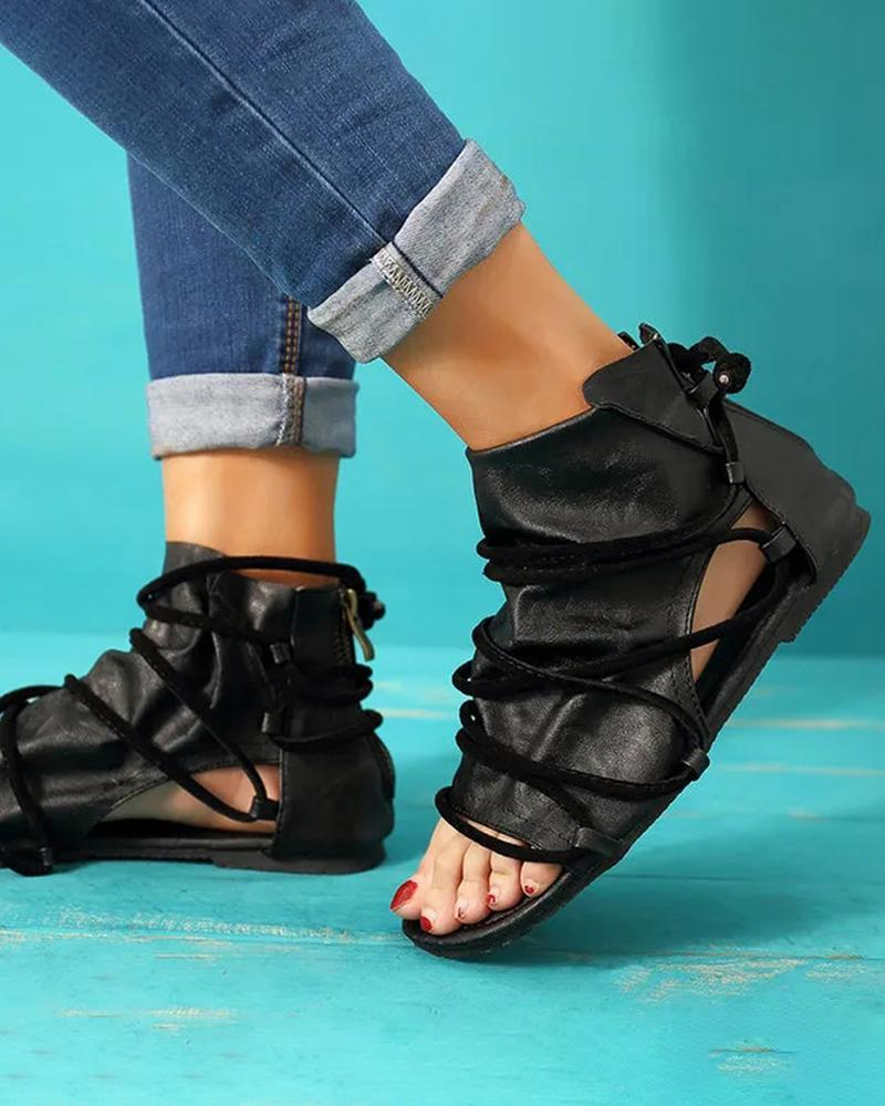 Kuselle Open Toe Lace Strap High Top Flat Sandals Gladiator Shoes