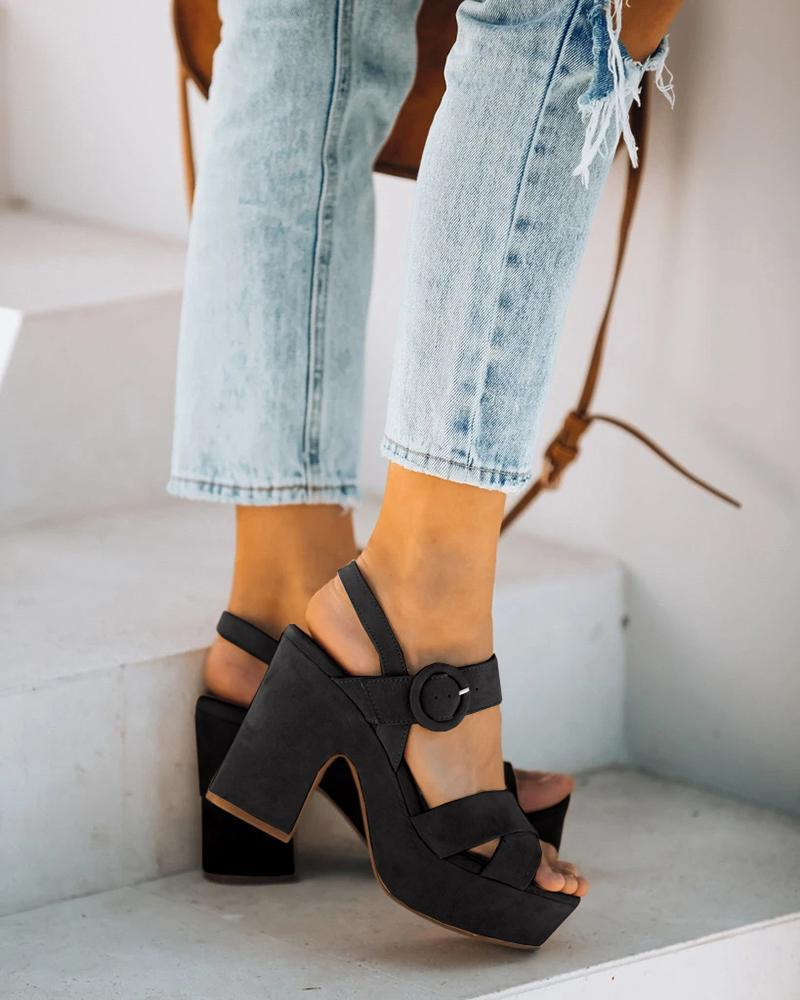 Kuselle Criss Cross Strappy Buckled Ankle Strap Blocked Heel Slingback Open Toe Platform Sandals